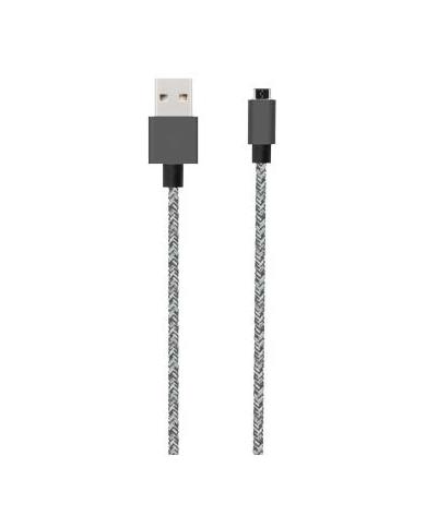 Bigben - Câble tissé Micro USB réversible noir de 2 mètres  - 1