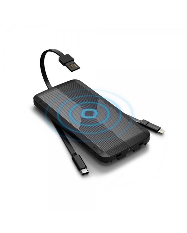 Powerbank - induction - 3 câbles intégrés  - 8000mah  - 12