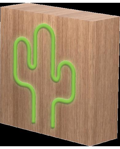 BigBen - Enceinte Neon Bois avec induction - Cactus - taille L  - 1