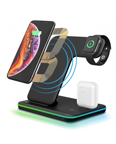 Station Chargement Led Pour Iphone - Airpods - Apple Watch station de chargement avec led pour iphone/airpods/apple watch (quali