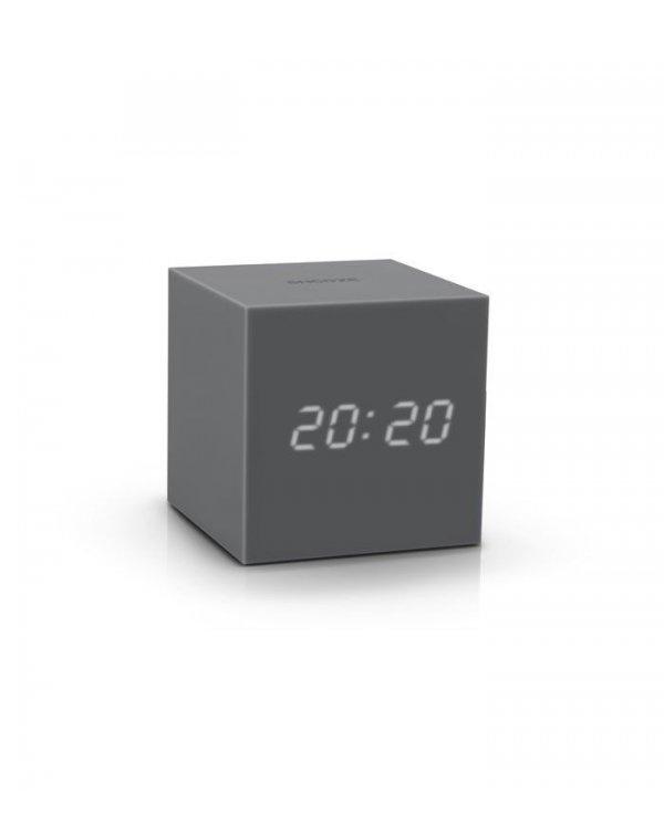 Gingko - Réveil Cube Gravity Click Clock - Silicone Reveil et horloge sur batterie ou secteur, en silicone. Commandes tactiles.