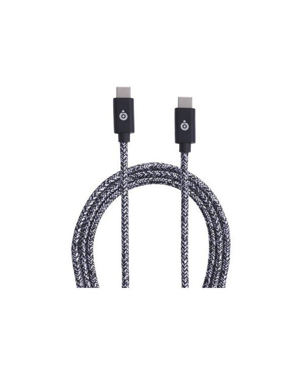 BigBen - Câble USB-C/USB-C - 3A - tissé  2 mètres - Gris