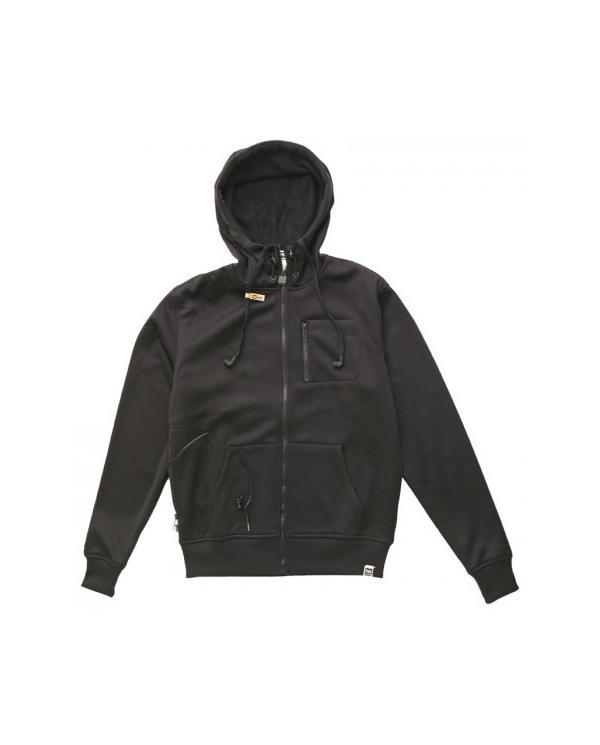 Sweat zippé avec écouteurs et micro intégrés néoprène noir de HoodieBuddie DJ3114 Sweat zippé de HoodieBuddie, en néopèrene, de